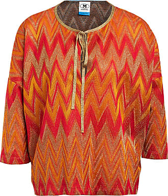 M Missoni Shirt mit 3/4-Arm und Glitzergarn - GOLD/ ORANGE/ PINK