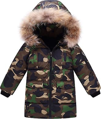 OCHENTA Kids Boys Winter Padded Camo Jacket Coat with Faux Fur Hood Army Green Tag 110-Height 39(2-3Y)