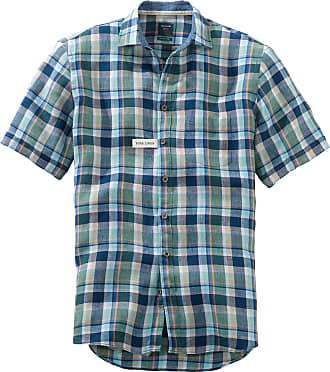Olymp Casual Modern Fit Bright Check Short Sleeve Shirt - Green/Blue L Green/Blue