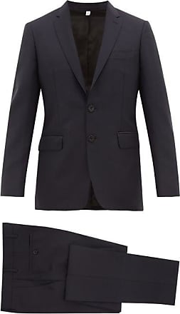 Burberry Single-breasted Wool-blend Crepe Suit - Mens - Navy