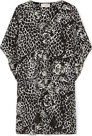 b180d95ecd74 Saint Laurent Lace-up Leopard-print Crepe De Chine Mini Dress - Black