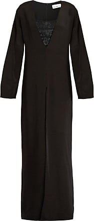 Raey Lace Bralette And Split-leg Silk Jumpsuit - Womens - Black