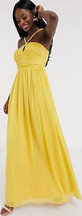 Little Mistress Maxikleid in Gold gepunktet mit Zierfalten-Gelb