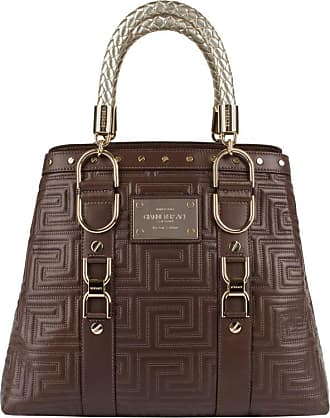 0fa13bcb0730 Versace Couture Brown Quilted Leather Gold Hardware Handbag Purse Nwt
