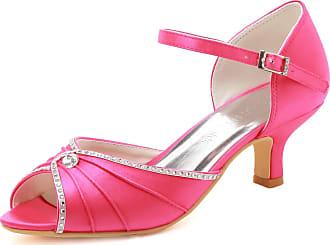 Elegantpark HP1623 Wedding Sandals for Bride Low Heel Women Bridal Sandals Peep Toe Ruched Rhinestones Satin Wedding Bridal Party Shoes Hot Pink UK 9(EU 42)