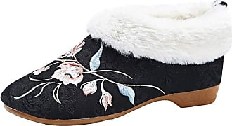 ICEGREY Womens Embroidered Chinese Style Loafers Shoes Low Heel Booties Black Flower 8.5