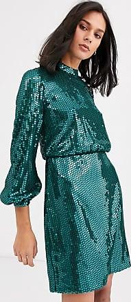 Whistles dena sequin mini dress-Green