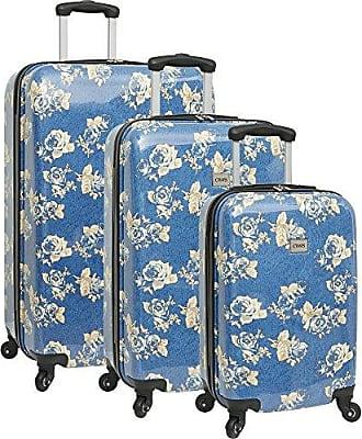 Chaps 3 Piece Hardside Spinner Luggage Set, Blue Rose