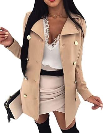 VITryst Women Solid Work Office Long Sleeve Woolen Blazer Open Front Jacket Coat,Khaki,XX-Large