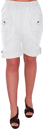 Eyecatch Skye Ladies Relaxed Comfort Elasticized Flexi Stretch Womens Shorts Plus Sizes White Size 14