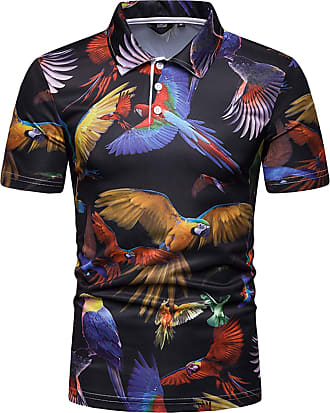 Whatlees Mens Casual Short Sleeve 3D Print Parrot Graphic Golf Polo Shirt Stylish T-Shirt 02010038X14+XXL