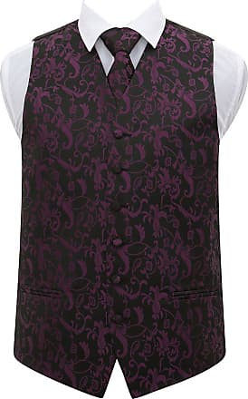 DQT New DQT Mens Passion Waistcoat and Tie Set - All Sizes (38, Black and Purple)