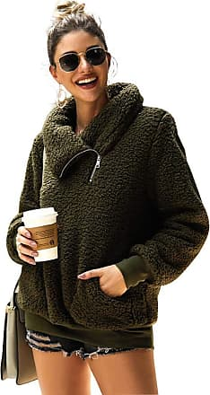 YYW Womens Winter Oblique Lapel Sweatshirt Faux Shearling Shaggy Warm Pullover Zipped Up with Pockets Outerwear (Army Green,S)
