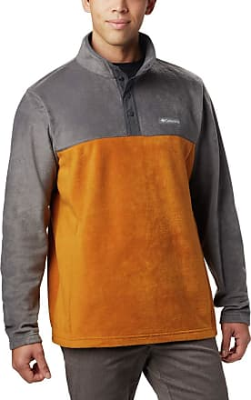 Columbia Mens Steens Mountain Half Snap Fleece Jacket, Burnished Amber, Shark, Medium
