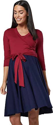 Happy Mama Womens Maternity Skater Dress 3/4 Sleeves 525p (Crimson & Navy, UK 10/12, M)
