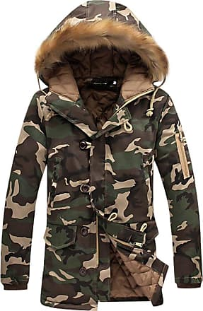 ZongSen Mens Womens Hooded Camouflage Parka Jacket Coats Winter Warmth Thicken Outwear Tan 2XL