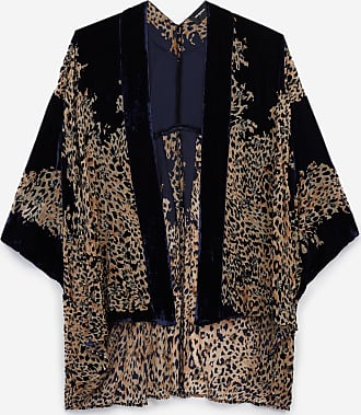 The Kooples Navy blue velvet cropped printed kimono - WOMEN