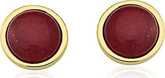 Toque De Joia Brinco semijoia círculo único pedra jade vermelha