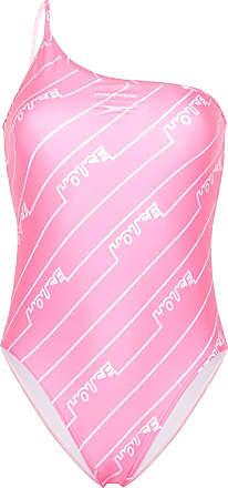 House Of Holland Maiô ombro único com estampa de logo - Rosa