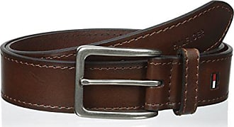 Tommy Hilfiger Brown Leather Belt - Dress or Casual for Men Jeans with Thick Strap with Stitching and Silver Buckle, Brown, 44