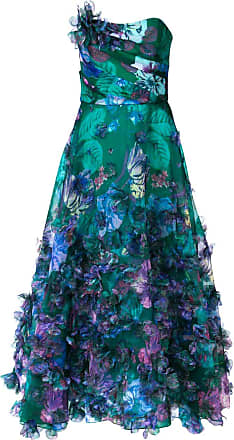 Marchesa strapless 3D floral embroidered dress - Green