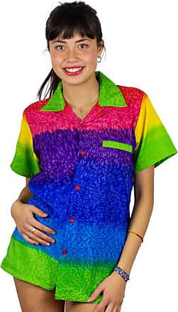 V.H.O. Funky Hawaiian Blouse, Rainbow Horizontal, Multicolor, M