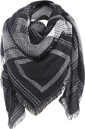 Lorenzo Cana Italian Scarf Pashmina Silk Cotton Shawl 43 x 43 Paisley Houndstooth Black Dark Grey 8911611