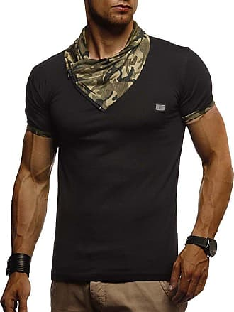 LEIF NELSON Mens T-Shirt Shawl Collar LN-630 Black X-Large