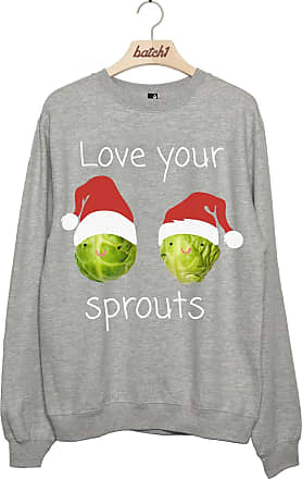BATCH1 LOVE YOUR SPROUTS CHRISTMAS SANTA HAT WOMENS XMAS SWEATSHIRT JUMPER