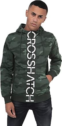 Crosshatch Mens Hoodie Camo Sweatshirt Full Zip Hooded Jumper Top Pullover JAGA(XL,Green CAMO)