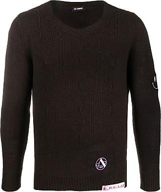 Raf Simons Suéter de tricô com detalhe de patch - Marrom