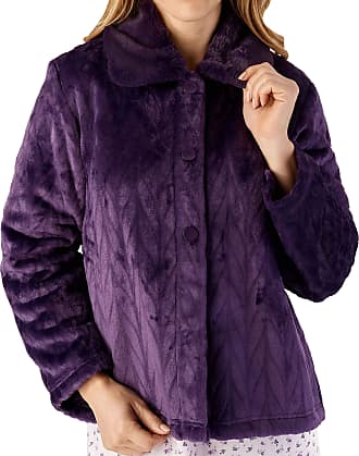 Slenderella Ladies Long Sleeve Thick Soft Purple Velvet Fleece Button Up Bed Jacket with Faux Fur Collar Size 16 18