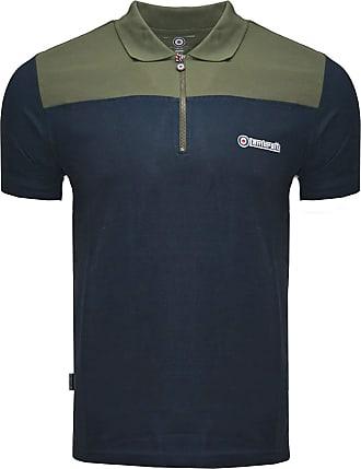 Lambretta Polo Shirt Twin Tipped Sleeve 1/2 Zip Cycling Shirt Mens SS3977 S-4XL (Navy/Beetle, UK Small)