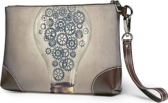 GLGFashion Womens Leather Wristlet Clutch Wallet Mechanical Bulb Storage Purse With Strap Zipper Pouch