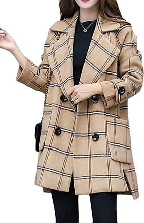 H&E Women Loose Fit Check Double-Breasted Notched Lapel Outwear Pea Coat Light Tan Small