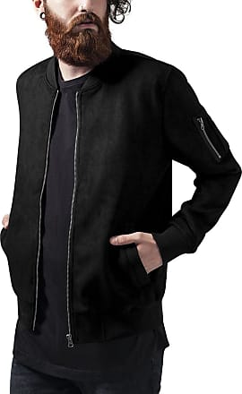 Urban Classics Mens Imitation Suede Bomber Jacket, Black (Black 7), XL