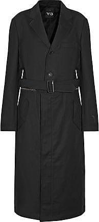 Yohji Yamamoto Woman Y-3 Adidas Originals Belted Cotton-blend Coat Black Size S