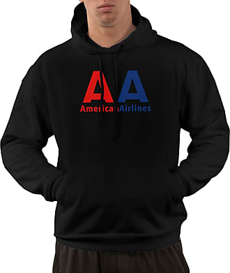 Not Applicable Clothing Mens Long Sleeve Hoodies American Airlines Logo Pullover Hooded Sweatshirt with Pockets Black