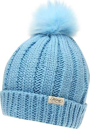 Firetrap Womens Turn Up Hem Pom Pom Beanie Hat (Blue, One Size)