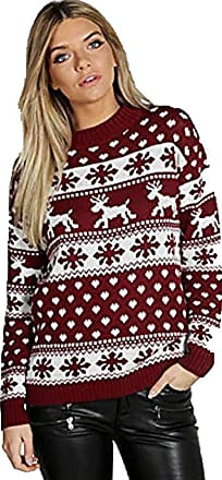 Saute Styles Ladies Womens Novelty Winter Retro Knitted Christmas Vintage Cape Jumpers Poncho (Small/Medium, Snowflakes Reindeer Hollie Wine)