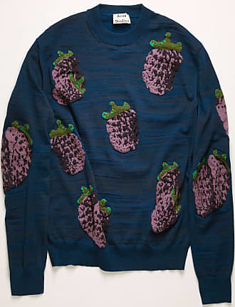 Acne Studios FN-MN-KNIT000143 Multi navy Raspberry-jacquard sweater