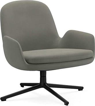 NORMANN COPENHAGEN Era Lounge Chair Low Drehstuhl Alu schwarz - grau Stoff Fame 61136/Gestell aluminium schwarz/H x B x T: 77 x 83 x 83 cm