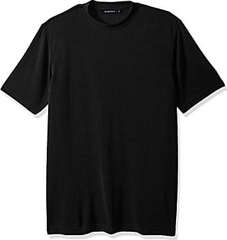 Bugatchi Mens Classic Fit Durable Microfiber Short Sleeve Crew Neck, Black, S