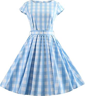 NPRADLA Womens Dresses Ladies Plus Size Plaid Vintage Summer Dress for Women O-Neck Short Sleeve Cotton T Shirt Dress for Women Light Blue
