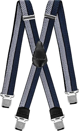 Decalen Mens Braces Very Strong Clips One Size Fits All X Style Heavy Duty Suspenders (Silver Black Blue)