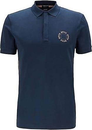 BOSS Piqué-Poloshirt aus Stretch-Baumwolle mit mehrlagigem Metallic-Logo