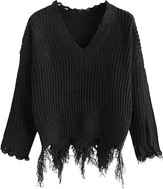 Zaful Womens Carried, V-Neck Sweater Shoulder Drop Drop Breathable Knitted Jumper - Black - One size