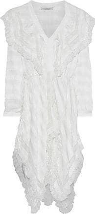 Philosophy di Lorenzo Serafini Philosophy Di Lorenzo Serafini Woman Ruffled Lace-trimmed Striped Crinkled-satin Dress White Size 40