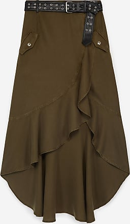 The Kooples Khaki long asymmetrical skirt with belt - WOMEN