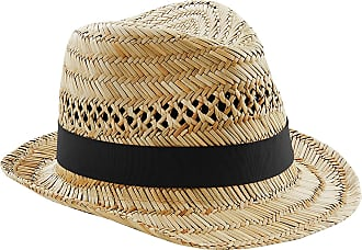 Beechfield Unisex Straw Summer Trilby Hat (LXL) (Natural)